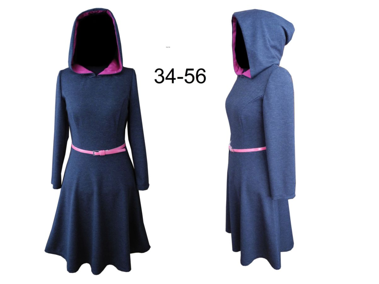 Hoodie-Kleid – Schnittmuster & Bildnähanleitung Elisa Gr. 34-56 ...