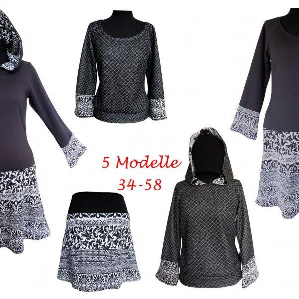 Kapuzenkleid/Shirt/Rock – Schnittmuster & Bildnähanleitung Sophia Gr ...